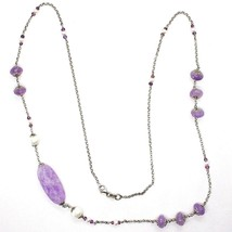 SILVER 925 NECKLACE, AMETHYST, OVAL AND DISCO, PEARLS, LENGTH 80 CM image 2