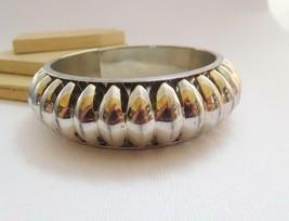 Vintage Silver Tone Wide Ethnic Boho Tribal Statement Bracelet T24 image 2