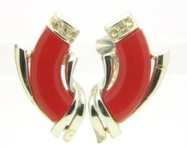 VTG CORO Silver Tone Red Lucite Moonglow Rhinestone Clip Earrings - $29.70