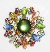 Pastel Multi-Color Rhinestone Brooch Flower Green Pink Blue Yellow Peach... - $37.94
