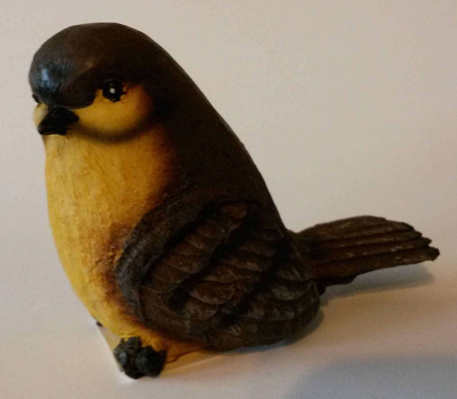 "NEW Pair of Fat Bird Figurines, Resin, 3"" tall, Indoors / Outdoors Statue yellow"