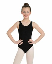 Capezio 167629 Girls Scoop Neck Ballet leg line Tank Leotard Black Size Medium - $11.77