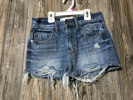 ABERCROMBIE & FITCH Women's Jean Shorts Sz 00 Blue Cutoff Distressed Msr... - $12.46