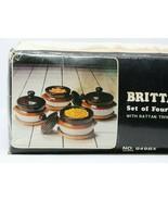 Vintage Set Of 4 Brittany Stoneware Ramekins Soup Bowls Rattan Trivets 1982 - $9.87