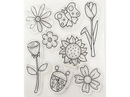 Flowers and Ladybug Clear Cling Stamps, Set of 8