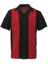 Men's Retro Classic Two Tone Guayabera Black/Red Bowling Dress Shirt w/ Defect