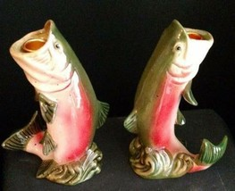 Midwest Season Cannon Falls Rainbow Trout Fish Candle Holder Pair NIB Ce... - $29.45