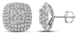 14k White Gold Round Diamond Double Square Frame Cluster Earrings 1-1/2 Cttw - $1,709.00