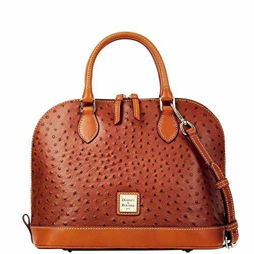 Dooney & Bourke Ostrich Embossed Leather Zip Zip Satchel Bag, Tan