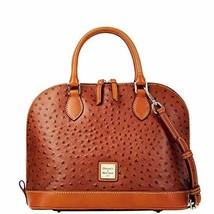 Dooney & Bourke Ostrich Embossed Leather Zip Zip Satchel Bag, Tan