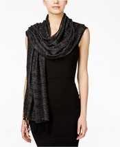 New Style&CO Black Metallic Wrap Textured Weave Scarf With Fringed Ends ... - €11,93 EUR