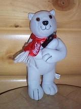 "Coca Cola 10"" Plush Standing Polar Bear Holding Soda Bottle Wears Red Scarf - $4.29"