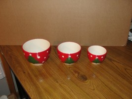 3 Red Christmas Holiday Nesting Bowls, MERRY, NOEL, JOY - $11.38