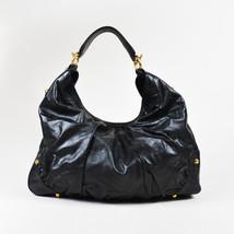 "Gucci Black Leather Gold Tone ""Large Jockey"" Hobo Bag - $905.00"