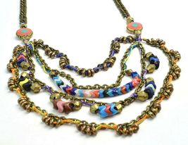 Vanessa Mooney Poppystack Necklace BOHO Multi Tier Strand Multicolor Beads image 6