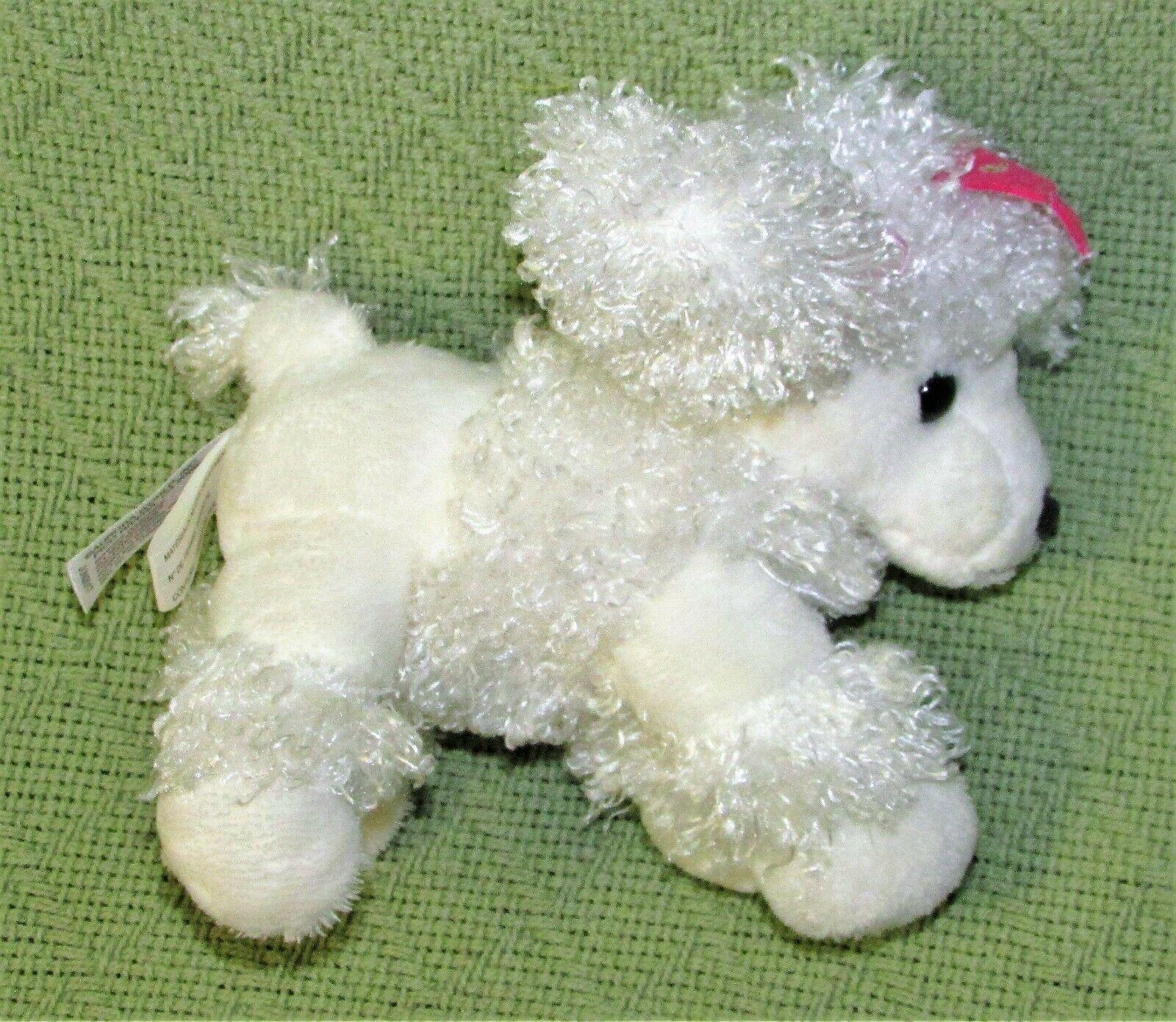 """AURORA WORLD MINI FLOPSIES 6"""" PRINCESS WHITE POODLE BEANBAG STUFF ANIMAL CROWN - $9.90"""