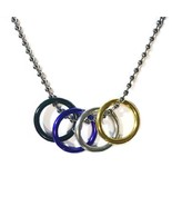 """NON BINARY FREEDOM RINGS NECKLACE 20"""" Chain LGBTQ ENBY Gender Pride Flag... - $8.95"""