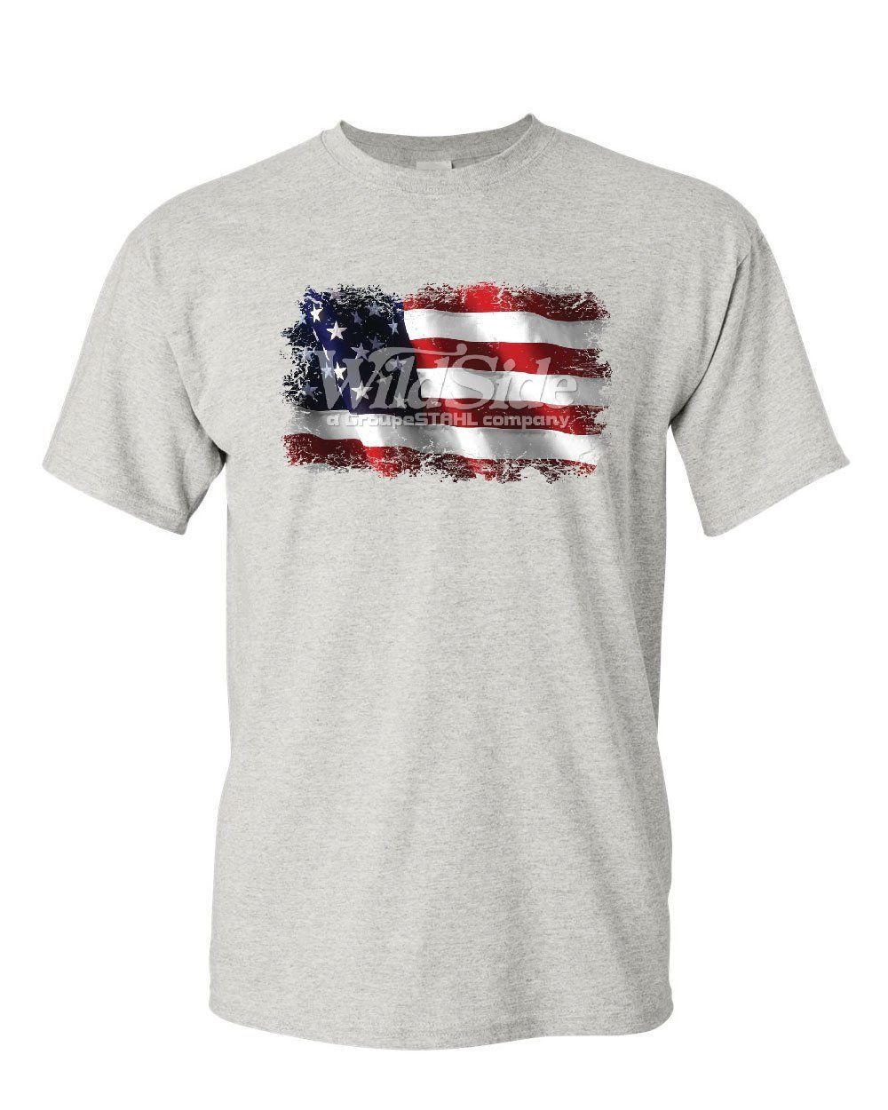 Distressed American Flag T-Shirt Land of the Free 4th of July Mens Tee Shirt