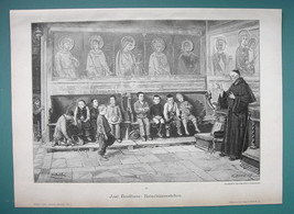 CATECHISM LESSON Boys in Old Basilica Priest Teaching - VICTORIAN Era Print - $16.20