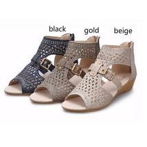 Women Sandals High Top Hollow-out Rhinestone Roman Flats Belt Sandal Black Beige