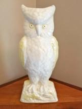 Vintage Belleek Irish Porcelain White and Yellow Great Horned Owl Vase  - $18.80