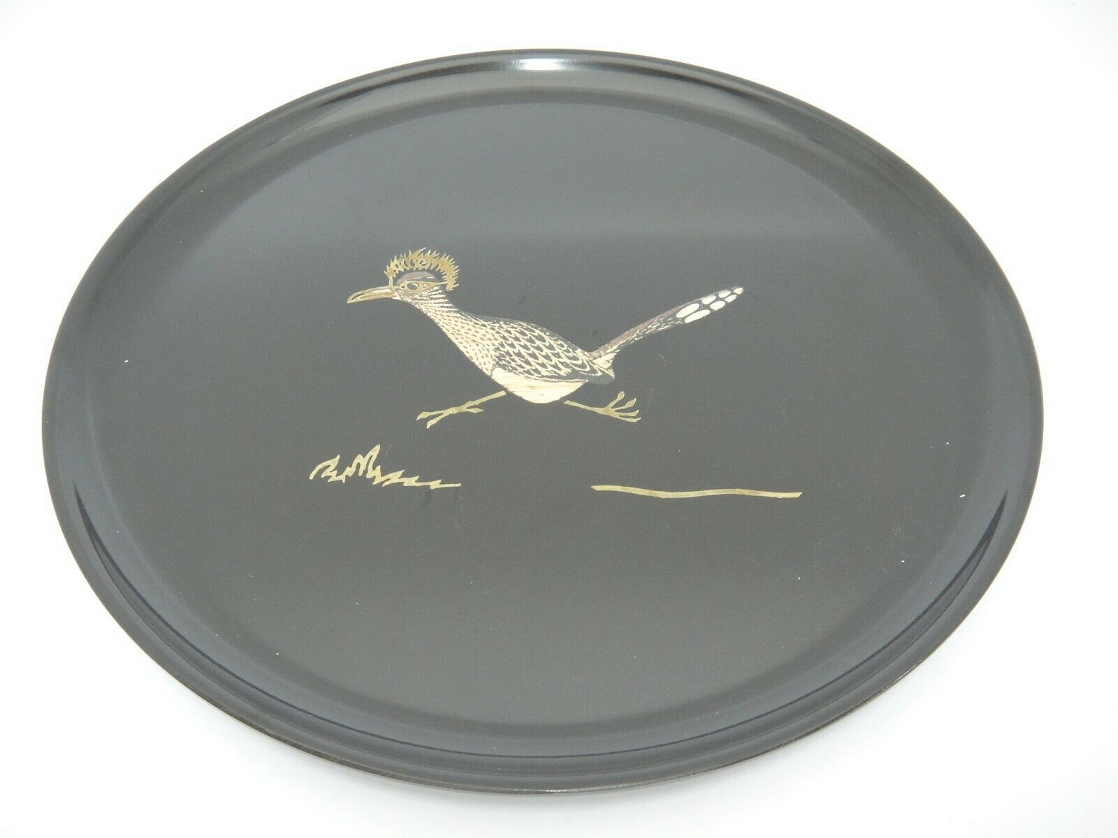 "Primary image for Couroc of Monterey Round 10.5"" Tray With Inlaid Roadrunner Mid Century"