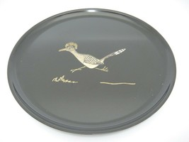 "Couroc of Monterey Round 10.5"" Tray With Inlaid Roadrunner Mid Century - $15.83"