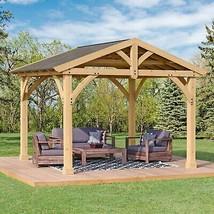 Yardistry 11 x 13 Roof Cedar Wood Aluminum Hardtop Gazebo Hard Top Pavilion - $2,195.00