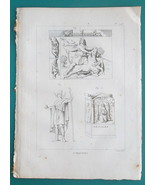 MYTHOLOGY Barbar Gods Lunus Mithra Killing Beast Nehalennia - 1804 Antiq... - $19.80