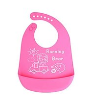 (Lion & Elephant) Cartoon Waterproof Comfortable Baby Bib/Pinafore for Baby,Pink image 2