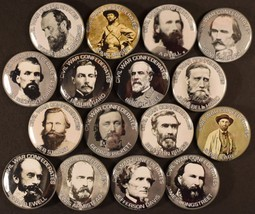 "Set of 16 Pinback Buttons 1 1/2"" Civil War Confederate Generals Jeb Stua... - $8.59"