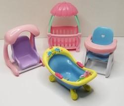 Toy Doll Furniture Crib Swing BathTub High Chair - $14.80