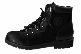 Versace Collection Black Pony Hair Lace Up Mountain Boots V900393 NIB image 2