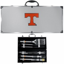tennessee volunteers 8 pc tailgater stainless steel bbq set with metal case - $126.34