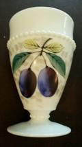 Vintage Westmoreland Milk Glass Beaded Edge Fruit Footed Tumbler Plum - $20.21