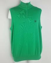 Chaps Ralph Lauren Green 100% Cotton Sleeveless Pullover Sweater Vest Me... - $9.89