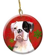 Cooper Red Snowflakes Boxer Ceramic Ornament - $21.91