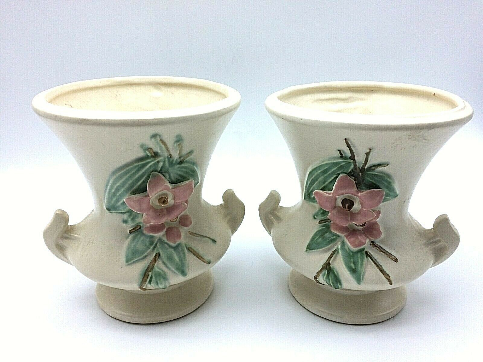 Primary image for 1 PAIR OF McCOY POTTERY~'BLOSSOM TIME'~DOUBLE HANDLED VASES~DOGWOOD FLOWERS