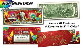 USA $2 Bill 2017 Chinese New YEAR OF Rooster Polychromatic Red Envelop C... - $19.62
