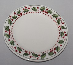 Oneida Winter Wonderland Salad Plate Holly Berries Christmas Stoneware Casual - $4.90