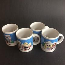 Christmas Traditions 4 Pc. Coffee Tea Mug Set  Left Bank Collection 1991... - $29.69