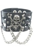 Skull Head Crossbone Rose W Chain Black Leather Heavily Metal Wristband ... - $18.74