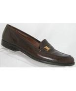 Etienne Aigner 'Camelot' brown leather almond toe slip on loafer heel 9.5N - $23.80