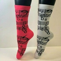 2 PAIRS Foozys Women's Novelty Socks, MUSICAL NOTES, NEW - $8.99