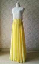YELLOW High Waist Chiffon Skirt Wedding Chiffon Skirt Yellow Bridesmaids Outfit image 3