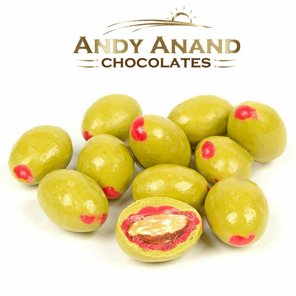 Andy Anand Belgian Chocolate Pimento Olive Almonds Gift Box Free Air Shipping - $29.84