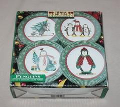 4 Christmas Penguins Salad Plates Debbie Mumm Sakura Skating Skiing Green in Box - $9.85