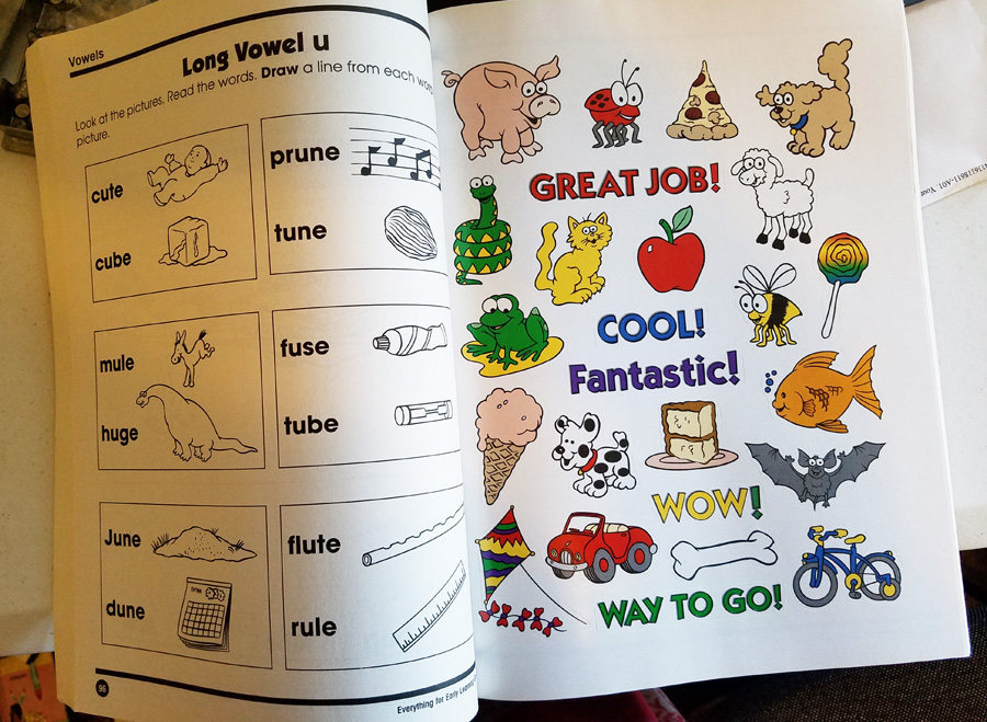 Everything For Early Learning worksheet book grade 1 homeschool Reading, math si
