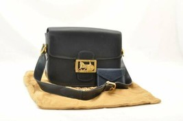 CELINE Horse Carriage Shoulder Bag Black Leather Auth ar1581 - $798.00