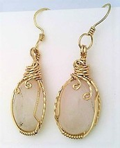 Rose Quartz Gold Wire Wrap Earrings 4 - $45.00